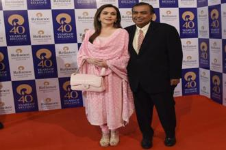 File photo of Mukesh and Nita Ambani.The 2017 Year in Search results were announced by Google India on Wednesday. Photo: AFP