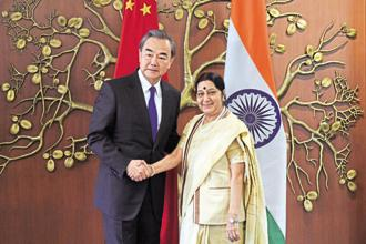 Foreign minister Sushma Swaraj with her Chinese counterpart Wang Yi in New Delhi earlier this week. Photo: HT