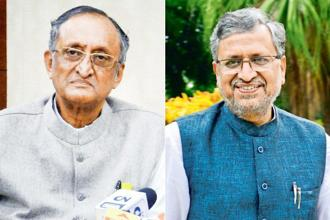 West Bengal finance minister Amit Mitra (left) and Bihar finance minister Sushil Modi. Photos by PTI and Pradeep Gaur/Mint