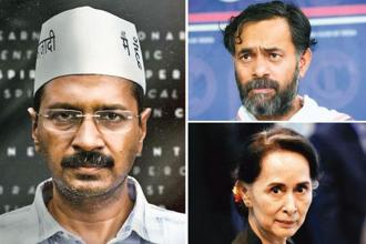 Arvind Kejriwal in a still from 'An Insignificant Man'; Yogendra Yadav and Aung San Suu Kyi.