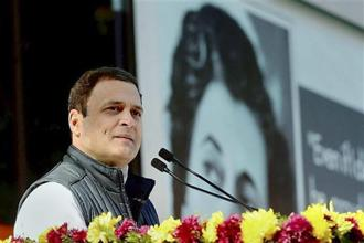 Newly elected Congress president Rahul Gandhi addresses the gathering during an event held in the lawns of AICC in New Delhi on Saturday. Photo: PTI