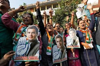 The next one year is going to witness a direct contest between Congress and BJP in Karnataka, Rajasthan, MP and Chhattisgarh. Photo: AP