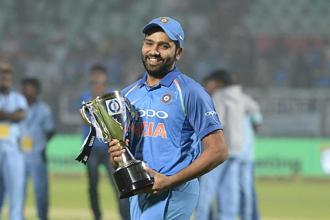 File photo. Rohit Sharma now has three ODI double centuries. Photo: AFP
