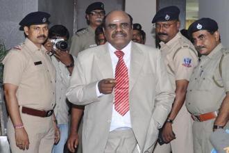 File photo. C.S. Karnan was arrested from Coimbatore in Tamil Nadu on 20 June  after he had evaded the police for over a month. Photo: AFP