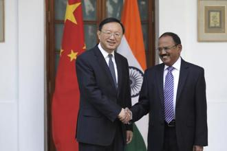 Indian national security adviser Ajit Doval with Chinese state councillor Yang Jiechi in New Delhi on Friday. Photo: AP