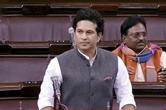 Sachin Tendulkar had wanted to raise the issue of financial security for national level athletes in his maiden Rajya Sabha speech, which could not take place due to protests in the upper house. Photo: PTI