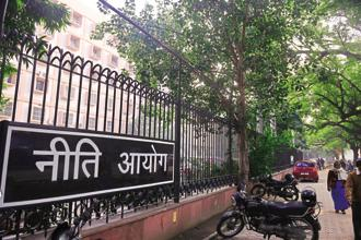 The NITI Aayog HQ in Delhi. The government has so far raised Rs52,500 crore in the current fiscal through PSU disinvestment, including from listing of PSU insurance companies Photo: Pradeep Gaur/Mint