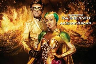 A still featuring actor Rajinikanth and Amy Jackson in Shankar's science-fiction '2.0'.