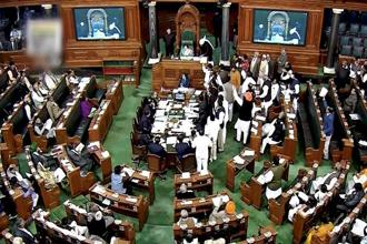 Despite repeated requests from Speaker Sumitra Mahajan, about 20 members continued to protest in the well of the House. Photo: PTI