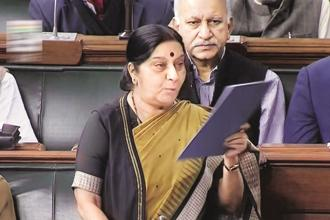 External affairs minister Sushma Swaraj speaks in the Lok Sabha in New Delhi on Thursday. Photo: PTI