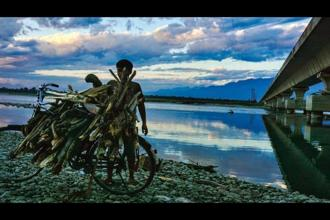 A firewood collector at the Digaru river near the Alubarighat bridge. Photo: Shamik Bag