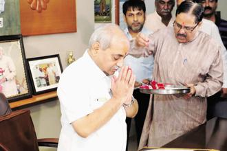 Gujarat deputy chief minister Nitin Patel at his office in Gandhinagar on Sunday.