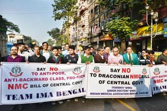 Members of IMA and West Bengal Medical Council protest against the NMC Bill in Kolkata on Tuesday. Photo: Indranil Bhoumik/Mint