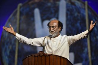 Tamil actor Rajinikanth while announcing his entry in Tamil Nadu politics in Chennai on Sunday. Photo: PTI