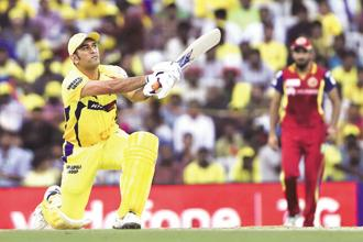 A file photo of M.S. Dhoni playing for the Chennai Super Kings. Photo: HT