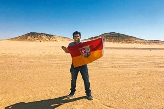 Suyash Dixit with the 'Kingdom of Dixit' flag in Bir Tawil near Egypt. Photo: Suyash Dixit