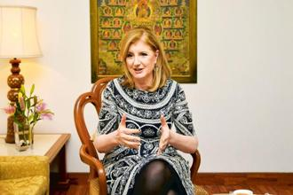 Thrive Global co-founder and CEO Arianna Huffington  says people need to stop bragging about being busy. A lot of us are not conscious about our addiction to technology. Photo: Ramesh Pathania/Mint