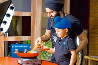 Sanjyot Keer of Your Food Lab cooks with his nephew Iyan for an episode of 'Your Food Lab Junior'. Photo Courtesy: Your Food Lab