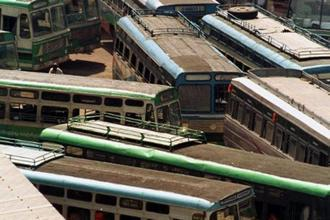Tamil Nadu has over 22,000 buses with a workforce of about 143,000 employees, who have been fighting for over a year for wage revision. Photo: AFP