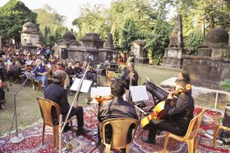 A music concert organized by Christian Burial Board at Kolkata's famous South Park Street cemetery on Saturday. Photo: Indranil Bhoumik/Mint