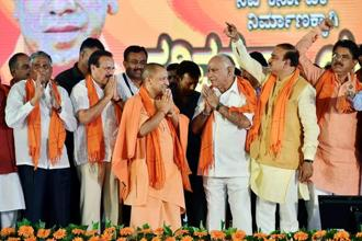 "Addressing the 'Nava Karnataka Parivartan Yatre' rally yesterday, Yogi Adityanath alleged that the Congress government in Karnataka was pushing the state five years back ""due to corruption, divisive politics and anti-development policies"". Photo: PTI"