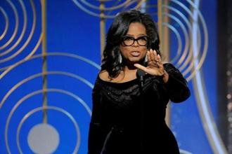 Oprah Winfrey Speaks after accepting the Cecil B. Demille Award at the 75th Golden Globe Awards in Beverly Hills. Photo: Reuters
