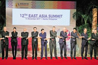 PM Narendra Modi with leaders from the Asean and their dialogue partners at the Asean summit in Manila in November. Photo: Reuters
