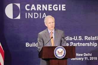 US ambassador to India Kenneth Juster in New Delhi on Thursday. Photo: PTI