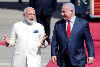 A file photo of Narendra Modi with Israeli Prime Minister Benjamin Netanyahu. Netanyahu begins a six-day visit to India on Sunday Photo: Reuters