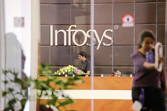 Stripped of a one-time gain in the US, Infosys's quarterly profit would have been down 1.2% sequentially to $571 million. Photo: Mint