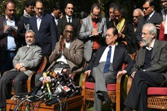 The four Supreme Court judges—(from left) Kurian Joseph, J. Chelameswar, Ranjan Gogoi and Madan Lokur—in their briefing alluded to the controversial death of justice Loya, who was presiding over the CBI court in the Sohrabuddin Sheikh encounter case. Photo: Hindustan Times