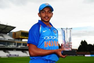 A file photo. Prithvi Shaw,18, will lead India's 15-member squad at the ICC Under-19 World Cup, starting 13 January, in New Zealand. Photo: Getty Images.