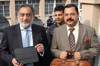 The measures proposed by the state's finance minister Haseeb Drabu (left) aim to make public spending and implementation of schemes more democratic while raising the stature of panchayats and urban local bodies in fiscal terms. Photo: PTI