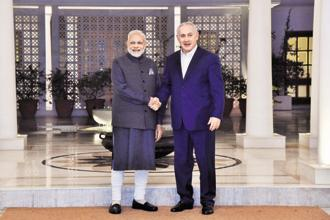 Prime Minister Narendra Modi with his Israeli counterpart Benjamin Netanyahu in New Delhi on Sunday. Photo: AFP
