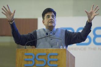 Railway minister Piyush Goyal during the listing ceremony of India International exchange at BSE in Mumbai on Saturday. Photo: PTI