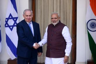 Prime Minister Narendra Modi with his Israeli counterpart Benjamin Netanyahu during a press conference at Hyderabad House in New Delhi on Monday. Photo: Pradeep Gaur/Mint