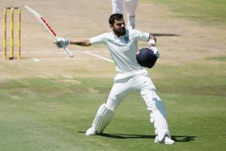 Virat Kohli became the first overseas captain to score a Test hundred at Centurion. The previous highest for a visiting captain at this ground was 90 by Mahendra Singh Dhoni in 2010. Photo: Reuters