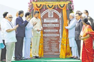 A file photo of Prime Minister Narendra Modi at the foundation laying ceremony for Amaravati, Andhra's upcoming capital.