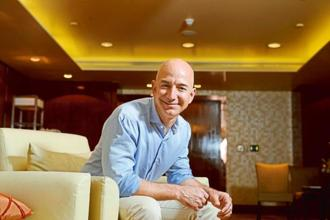 Jeff Bezos, CEO of Amazon.com Inc. Amazon attracts 180 million US visitors each month. Photo: Hemant Mishra/Mint