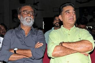 Actors Rajinikanth and Kamal Haasan on the occasion of AIADMK Founder M. G. Ramachandran's 101st birth anniversary in Chennai on Wednesday. Photo: PTI