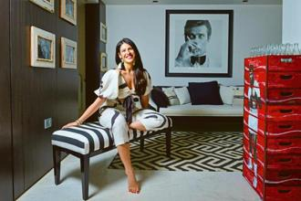 Shaana Levy-Bahl in a Zimmermann top and pants at her Mumbai apartment. Photo: Anirudha Chowdhry/Mint