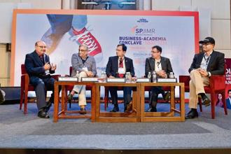 (From left) Indrajit Gupta, co-founder and director of Founding Fuel; Kishore Biyani, chairman and CEO of Future Group; Suresh Narayanan, chairman and MD of Nestlé India; Sanjay Gupta, MD of Star India, and Rahul Narayan, founder and fleet commander of Team Indus, at SBAC2018.