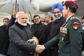 Prime Minister Narendra Modi arriving in Davos on Monday, ahead of the World Economic Forum's annual meeting. Photo: PTI
