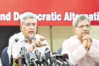 CPM general secretary Sitaram Yechury (right) and ex-general secretary Prakash Karat represent the interests of the party's West Bengal and Kerala units, respectively, say analysts. Photo: HT