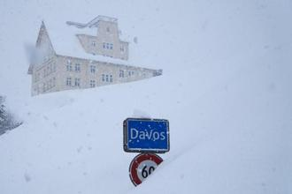 The town sign at the entrance to Davos, Switzerland. Photo: AP