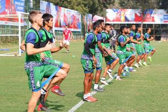 Jamshedpur FC's players use GPS-enabled vests, which provide data on movement, during training sessions. Photo: Jamshedpur FC