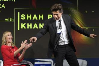 Actor Shah Rukh Khan at Davos on Wednesday. Photo: AP