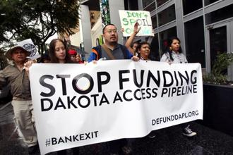 File photo of protests against Wells Fargo in solidarity with the people of Standing Rock. Lawsuits related to the Dakota Access Pipeline in the US that has remained a cause célèbre since 2016. Photo: AFP