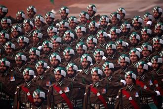 Soldiers march during the Republic Day parade in New Delhi on Friday. Photo: Reuters