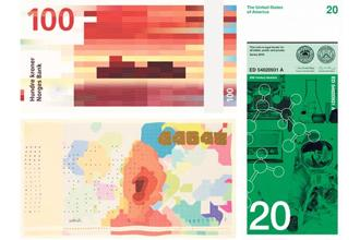 (clockwise, from above) Matthias Dörfelt's bitcoin as paper currency; the new Norwegian krone; and American design firm Dowling Duncan's proposed vertical note designs.